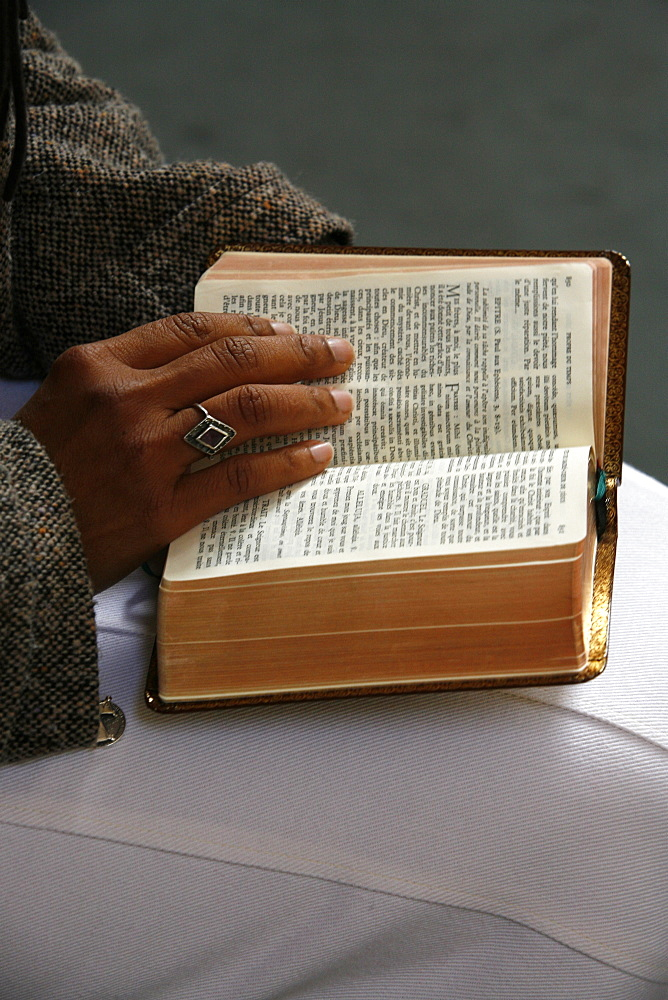 Bible reading, Fontainebleau, Seine-et-Marne, France, Europe