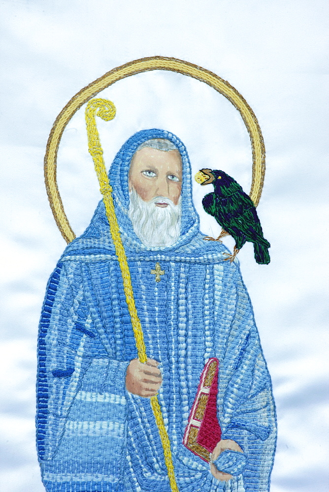 Embroidery of St. Paul and the crow, Paris, France, Europe