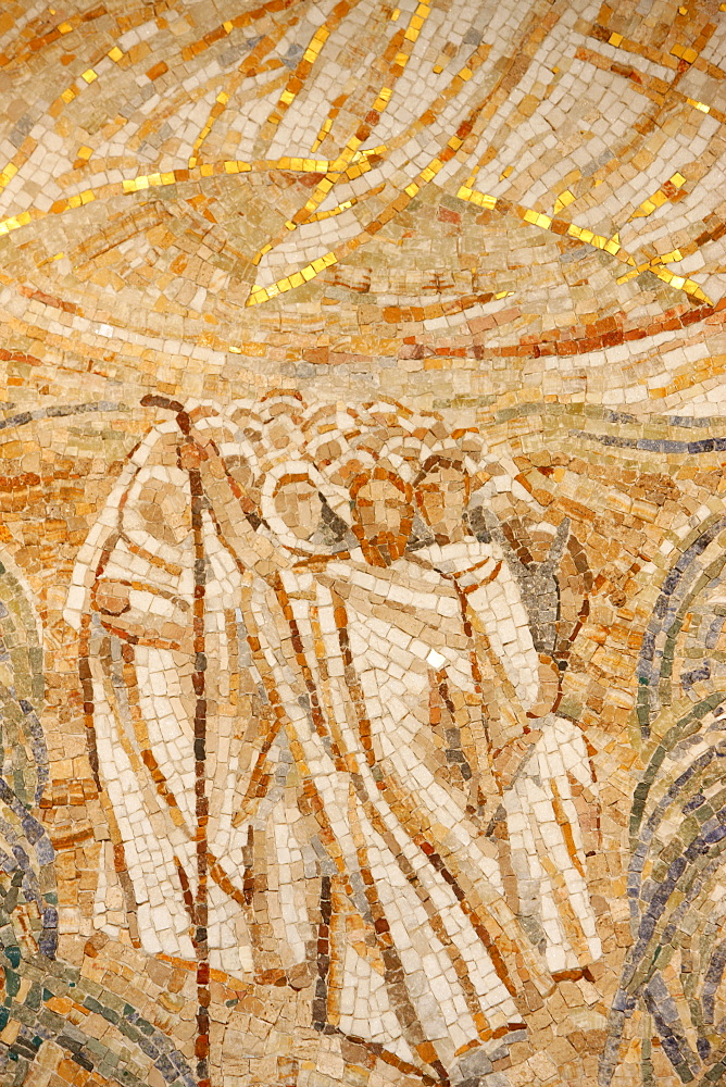 Mosaic by Madeleine Diener of Moses and the Hebrews crossing the Red Sea, Saint-Maurice Abbey Basilica, Valais, Switzerland, Europe