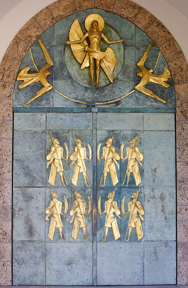 Ascension of Christ and the Theban soldiers by Philippe Kaeppelin on basilica door, Saint-Maurice Abbey, Saint-Maurice, Valais, Switzerland, Europe