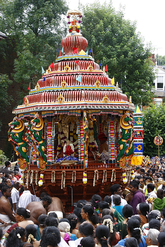 Chariot in festival procession, London, England, United Kingdom, Europe