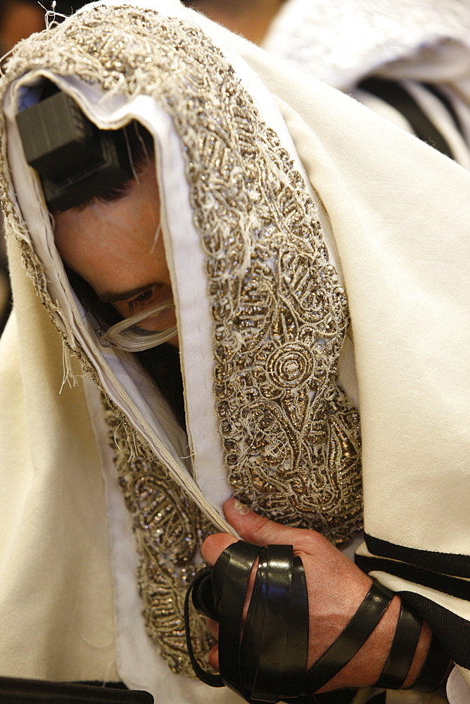 Orthodox Jew in the Belz Synagogue, Jerusalem, Israel, Middle East