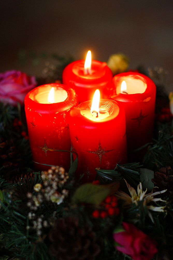 Advent candles, France, Europe
