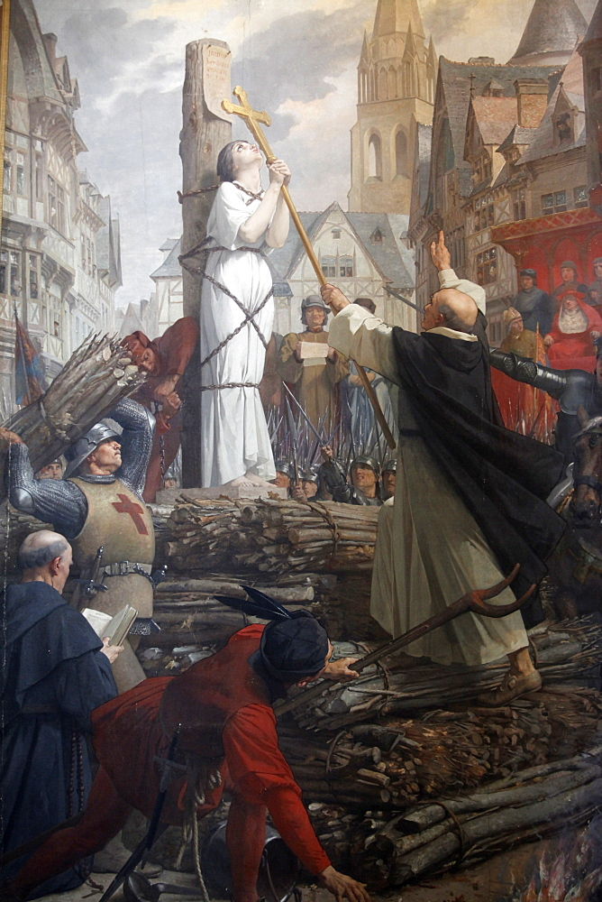 Painting of Joan of Arc on the pyre by Jules-Eugene Leneuveu, Pantheon, Paris, France, Europe