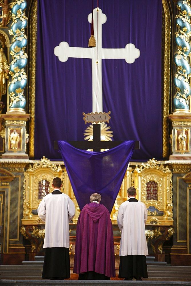 Good  Friday service, Gottweig Benedictine Abbey, Gottweig, Lower Austria, Austria, Europe