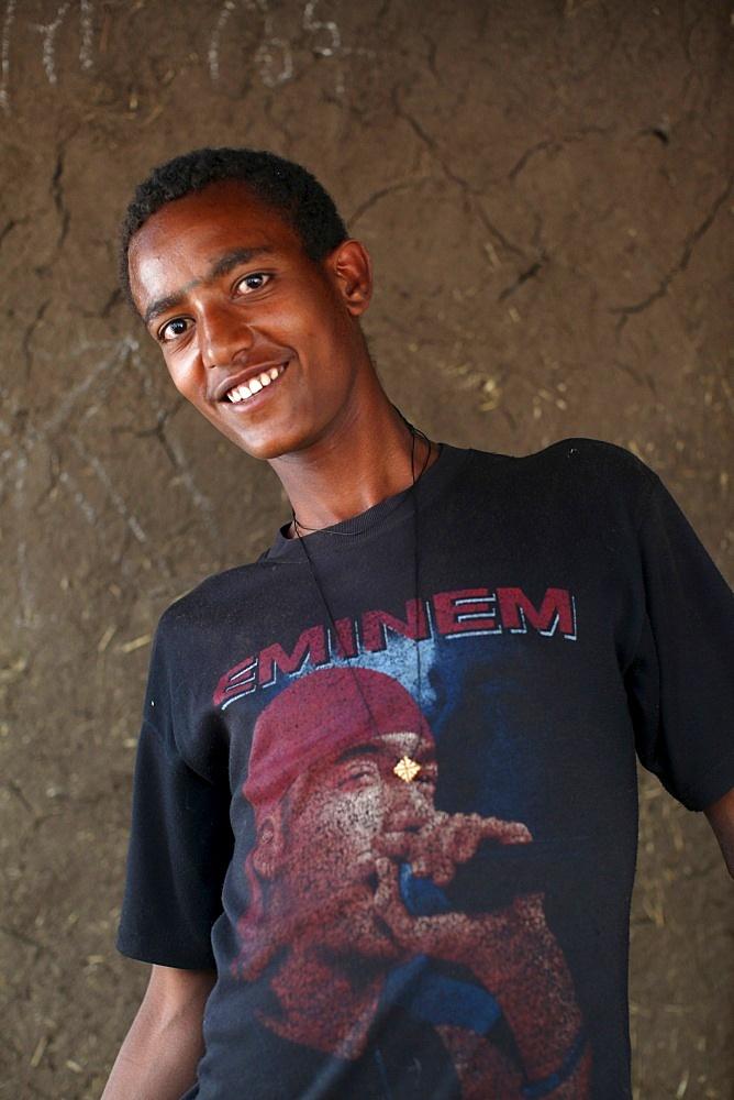 Wollo boy wearing an Eminem t-shirt, Wollo, Ethiopia, Africa
