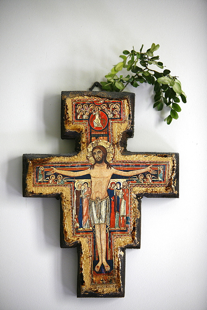 Cross in a room, Saint-Pierre de Solesmes Abbey, Solesmes, Sarthe, Pays de la Loire, France, Europe