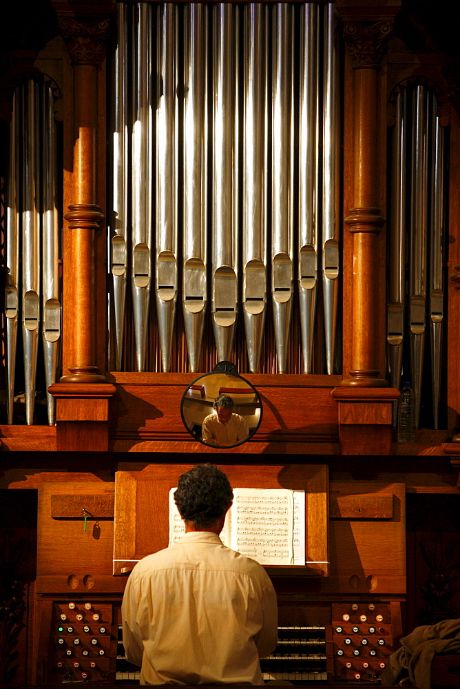 Organ being played during the Catholic Mass, Shrine of Our Lady of la Salette, Toulon, Var, Provence, France, Europe