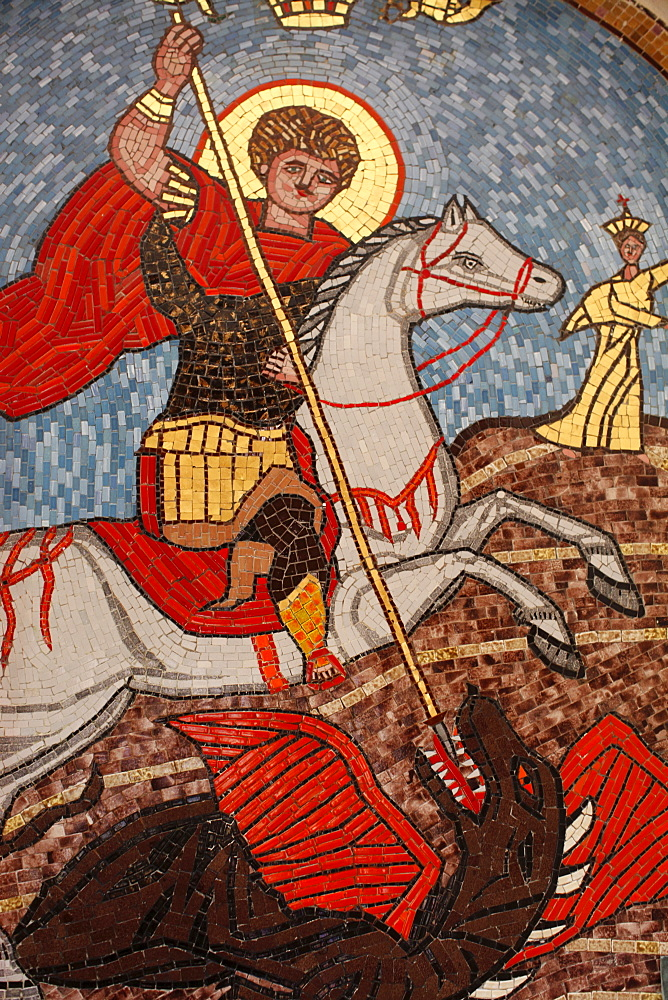 Mosaic of St. George slaying the dragon in St. George Coptic Orthodox church, Cairo, Egypt, North Africa, Africa