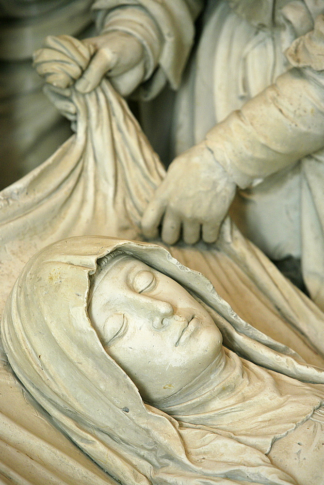 Detail of sculpture of Mary's entombment, Saint-Pierre de Solesmes Abbey church, Solesmes, Sarthe, Pays de la Loire, France, Europe