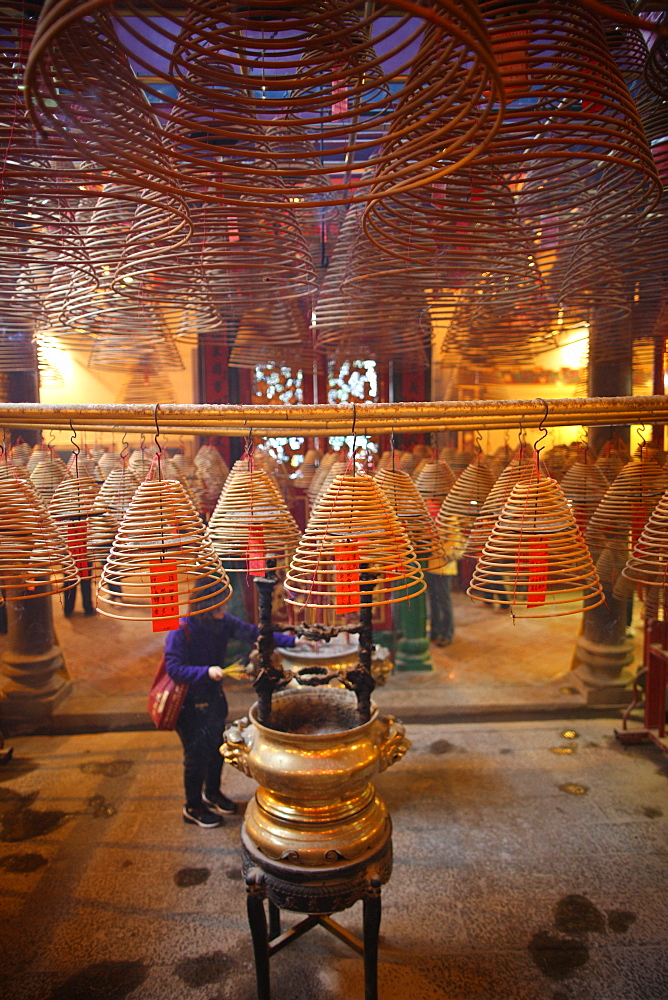Incense coils in main hall, Man Mo Temple, Hong Kong, China, Asia