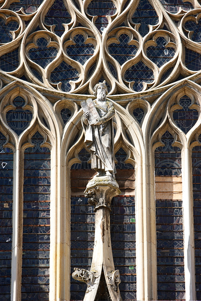 Moses, Last Judgment window, St. Stephen's Cathedral, Sens, Yonne, Burgundy, France, Europe