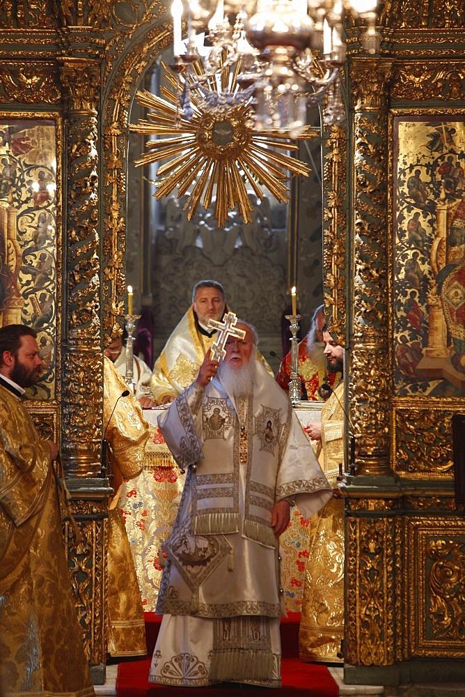 Sunday Mass celebrated by ecumenical Patriarch Bartholomew in St. George's Greek Orthodox church. Istanbul, Turkey, Europe