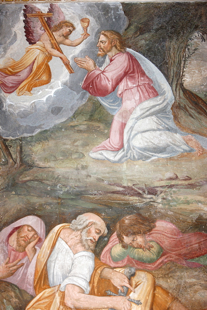 Jesus praying in the Garden of Gethsemane on the Mount of Olives, San Jeronimo's church, Madrid, Spain, Europe