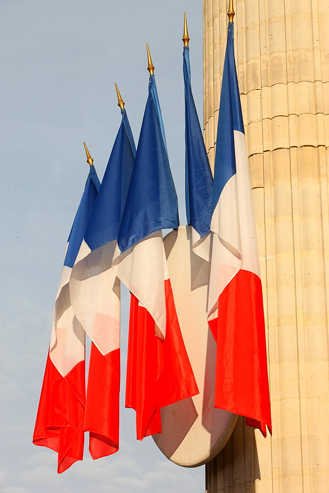 French flags outside the Pantheon, Paris, France, Europe