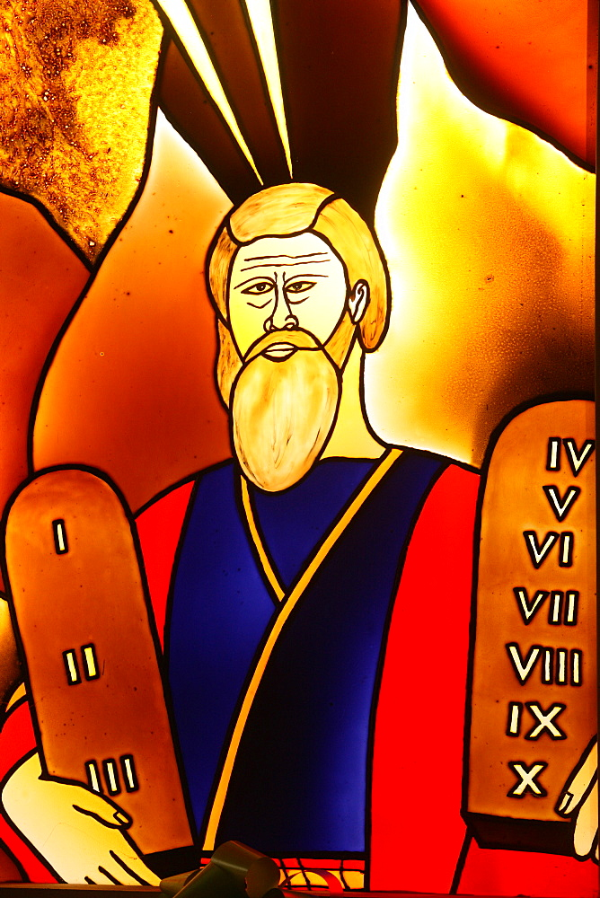 Stained glass of Moses, Lome, Togo, West Africa, Africa