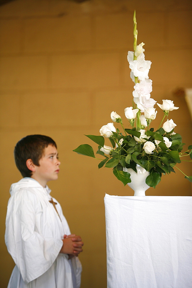 Altar boy, Les Sauvages, Rhone, France, Europe