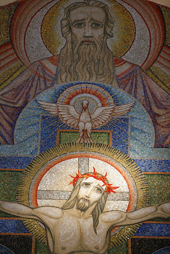 Mosaic by Antoine Molkenboer showing God, the Holy Spirit and Jesus, Annecy, Haute Savoie, France, Europe