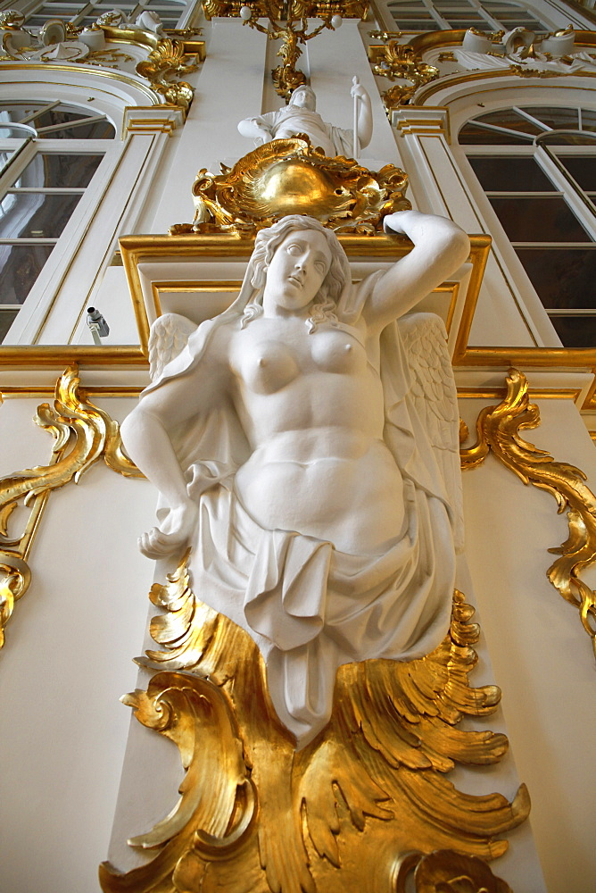 Statue, Honor staircase, Hermitage Museum, St. Petersburg, Russia, Europe