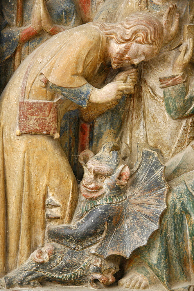 Detail of temptation by the devil, on a 14th century retable depicting St. Thibault's life, Saint-Thibault-en-Auxois, Doubs, France, Europe