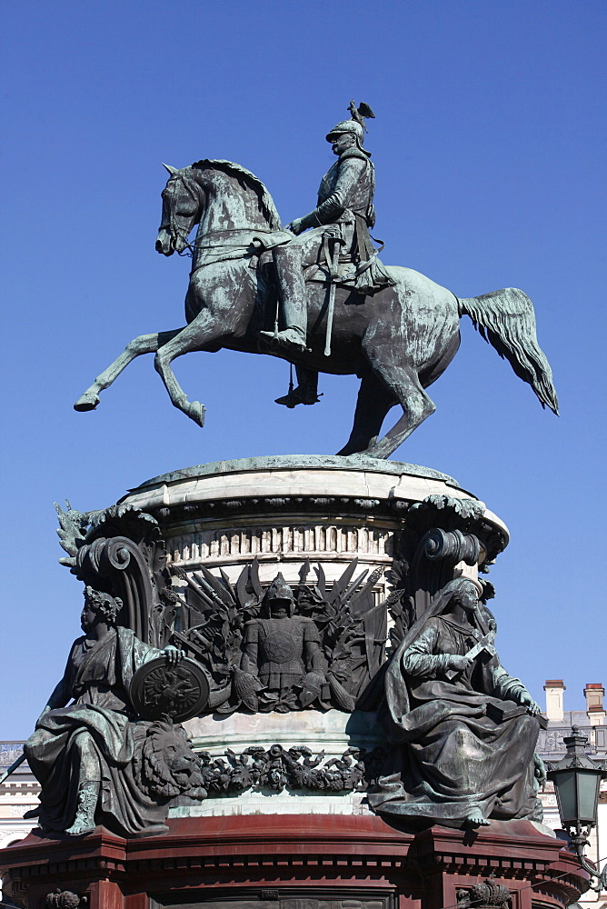 Nicholas I Monument in St. Isaac's Square, St. Petersburg, Russia, Europe