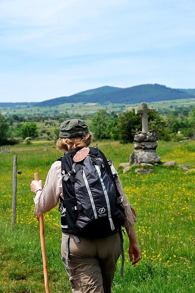 Pilgrim walking on the Way of St. James, Christian pilgrimage route towards Saint-Jacques-de-Compostelle (Santiago de Compostela), Languedoc-Roussillon, France, Europe