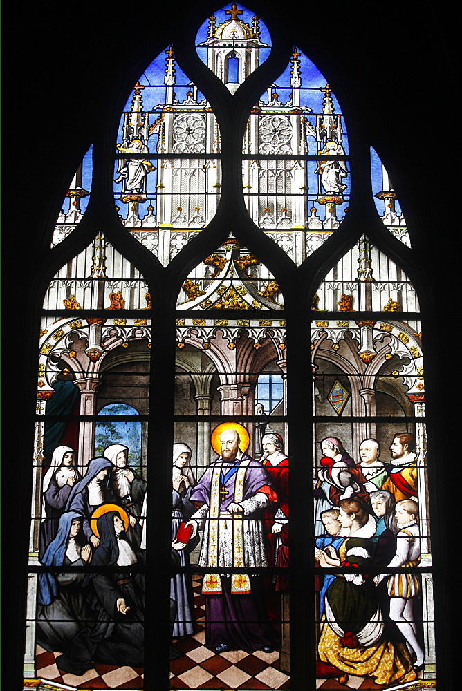 Stained glass depicting St. Francois of Sales founding the Visitation Monastic Order, Saint Severin church, Paris, France, Europe