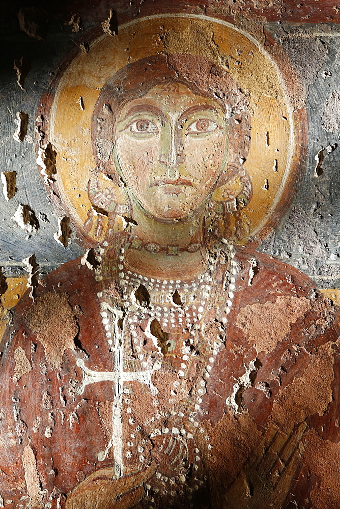 Byzantine fresco of Santa Sophia in Santa Maria della Croce church, Casarano, Lecce, Apulia, Italy, Europe