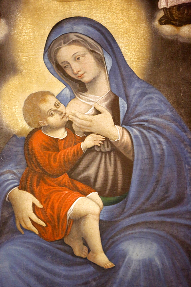 Painting of Mary breast feeding Jesus in S. Francesco di Paola church, Gallipoli, Lecce,Apulia, Italy, Europe
