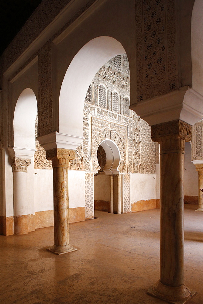 Ben Youssef Medersa, the largest Medersa in Morocco, originally a religious school founded under Abou el Hassan, UNESCO World Heritage Site, Marrakech, Morocco, North Africa, Africa