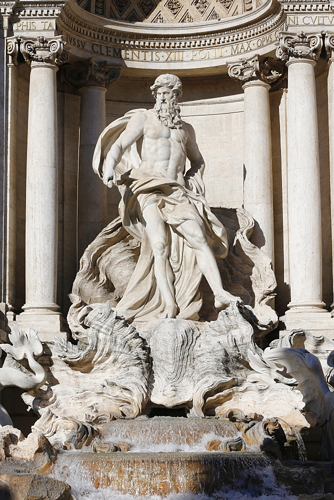 Detail showing Arch of Triumph with Neptune from Trevi Fountain by Nicola Salvi and Niccolo Pannini, Rome, Lazio, Italy, Europe