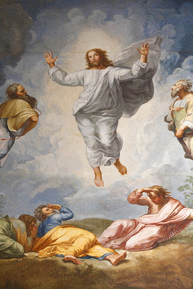 Raphael's oil painting of The Resurrection of Jesus on the Altarpiece of the Altar of the Transfiguration, St. Peter's Basilica, Vatican, Rome, Lazio, Italy, Europe