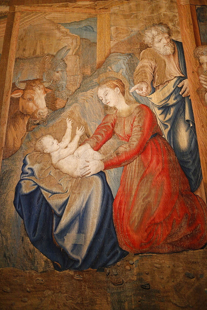 Tapestry depicting the Nativity, Gallery of Tapestries, Vatican Museum, Vatican, Rome, Lazio, Italy, Europe