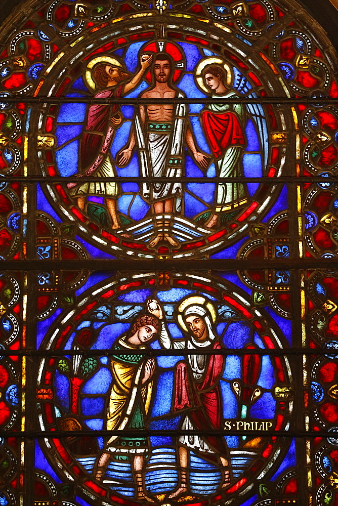 Stained glass window of Jesus and St. Philip, St. Barth's Church, New York, United States of America, North America