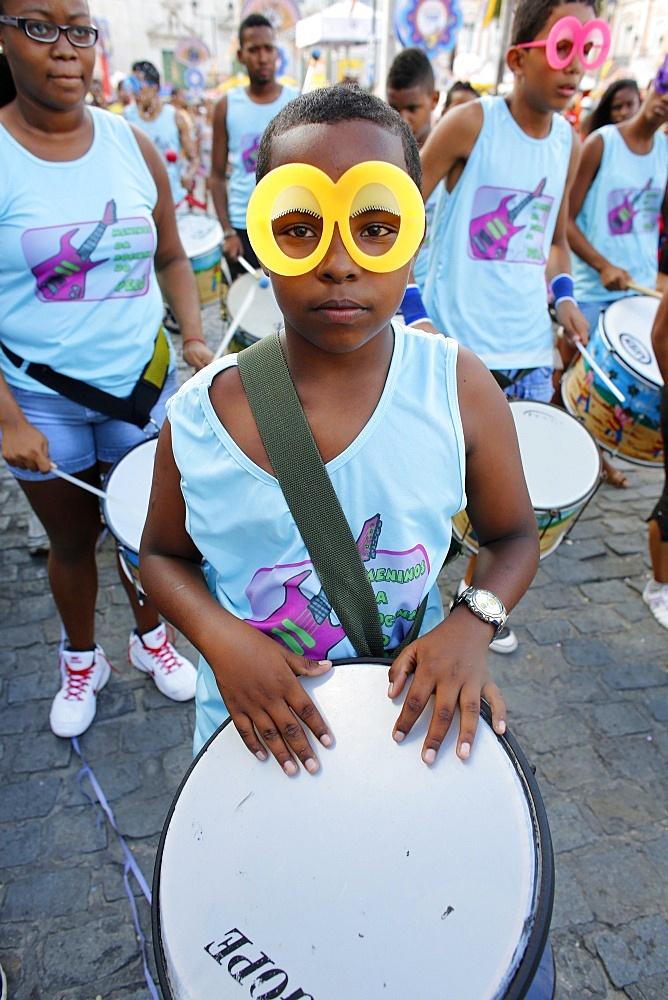 Band at Salvador carnival in Pelourinho, Bahia, Brazil, South America
