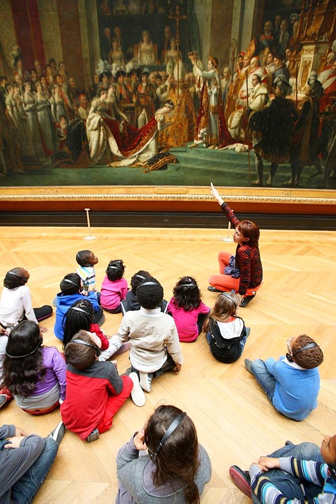 Tour with Nitendo 3DS, Louvre Museum, Paris, France, Europe