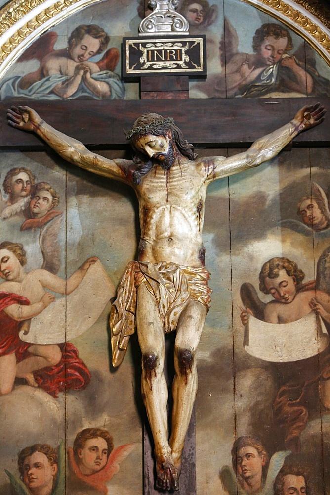 Crucifix in Salvador Cathedral basilica sacristy, Salvador, Bahia, Brazil, South America