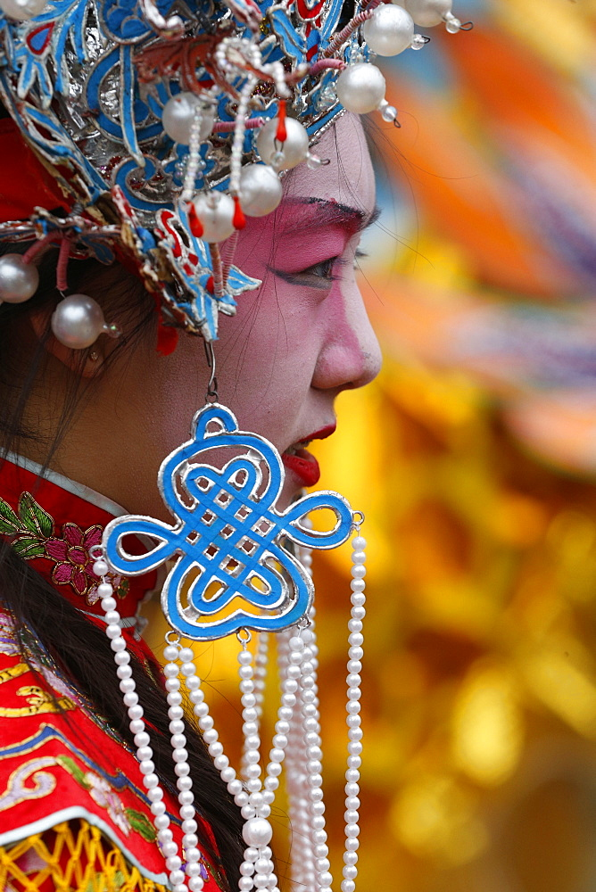 Young woman wearing traditional costumes, Chinese New Year, Paris, France, Europe