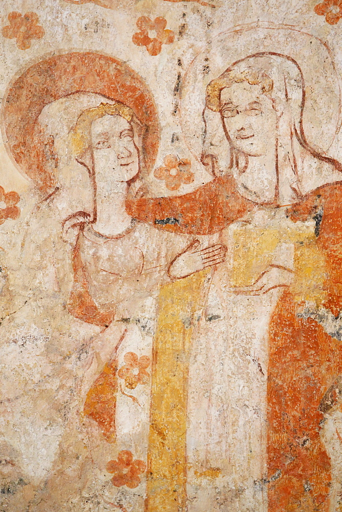 Mural of the Visitation dating from the 12th to 16th century in the church of Moutiers, Yonne, Burgundy, France, Europe