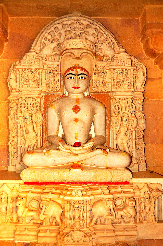 Depiction of Rishabha in Jain temple of Adinath (Rishabha), dating from the 12th century, Jaisalmer, Rajasthan, India, Asia