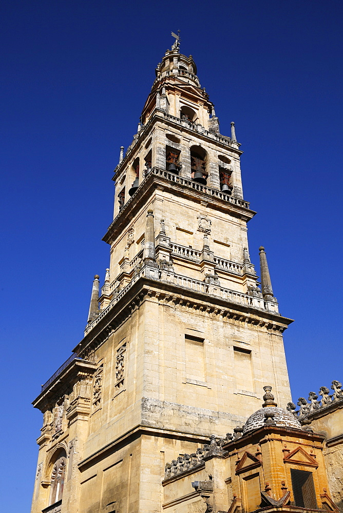 Bell tower surrounding the Abd er-Rahman III Minaret of the Mosque (Mezquita) and Cathedral of Cordoba, UNESCO World Heritage Site, Cordoba, Andalucia, Spain, Europe