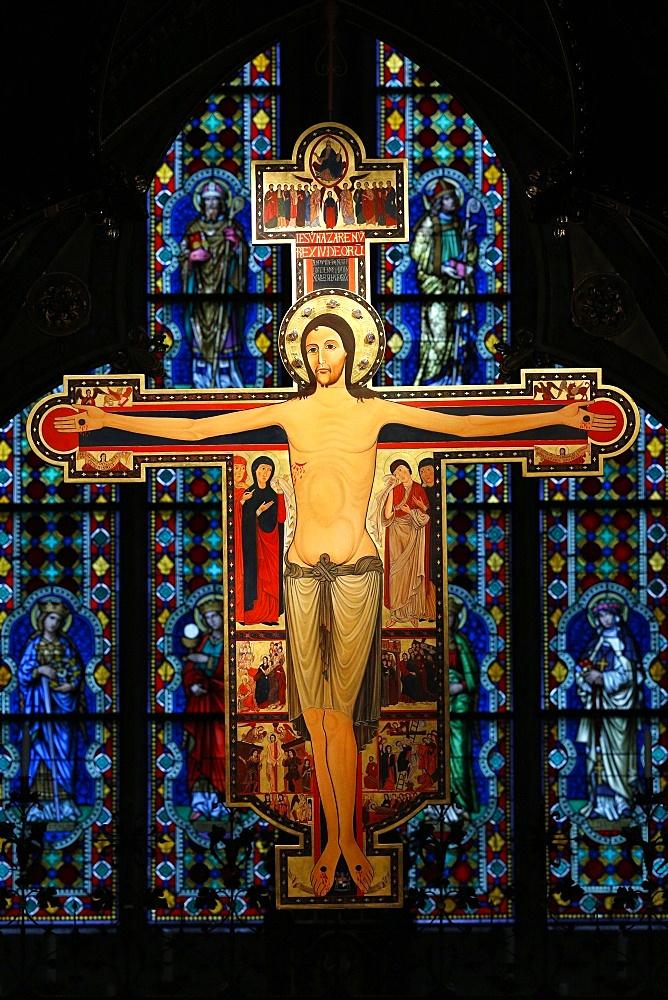 Jesus on the Cross, a copy of an Italian original from 1138, Heiligenkreuz Abbey, Lower Austria, Austria, Europe