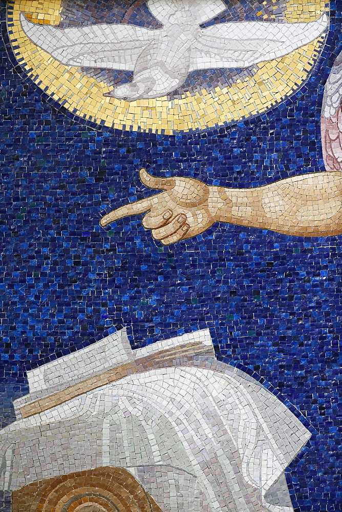 Holy Spirit in mosaic by Rudolf Jettmar, Am Steinhof church (Church Leopold), Vienna, Austria, Europe