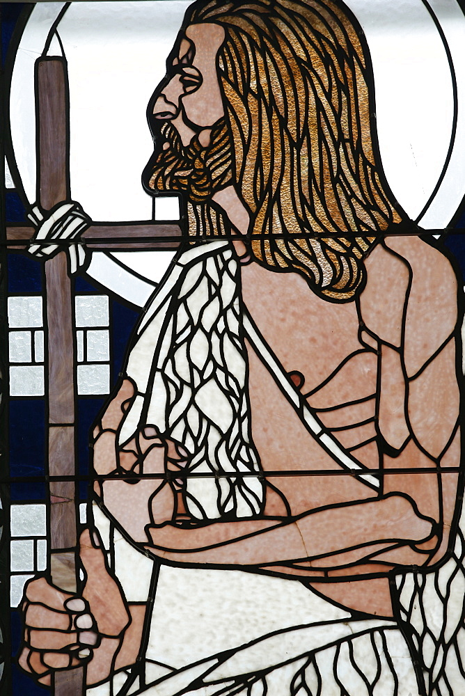 Stained glass by Koloman Moser of Saint Jean, Am Steinhof church (Church Leopold), Vienna, Austria, Europe