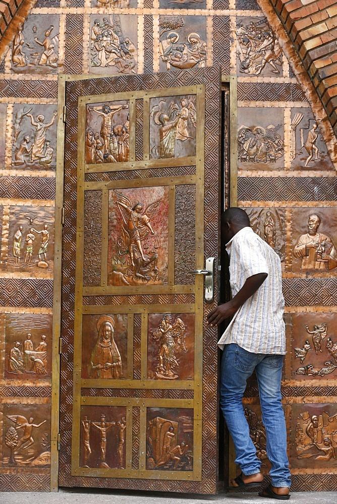 Gate, St. Anne's Basilica, Brazzaville, Congo, Africa