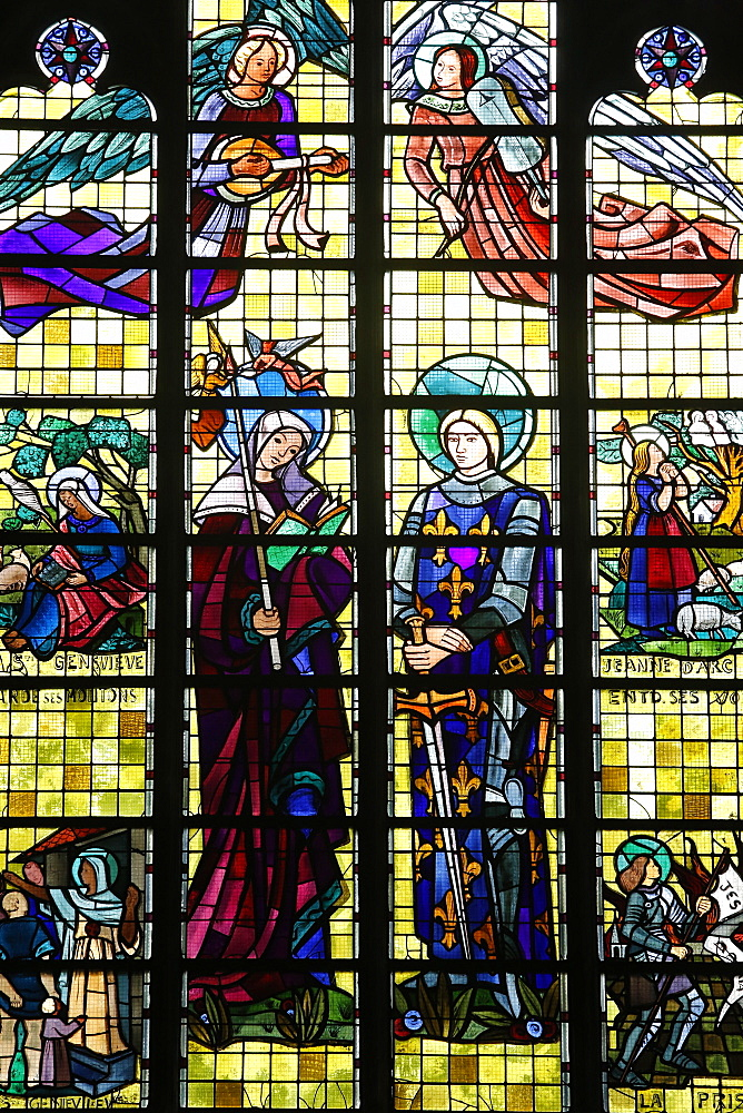 Stained glass in Saint Maurice's church, Lille, Nord, France, Europe