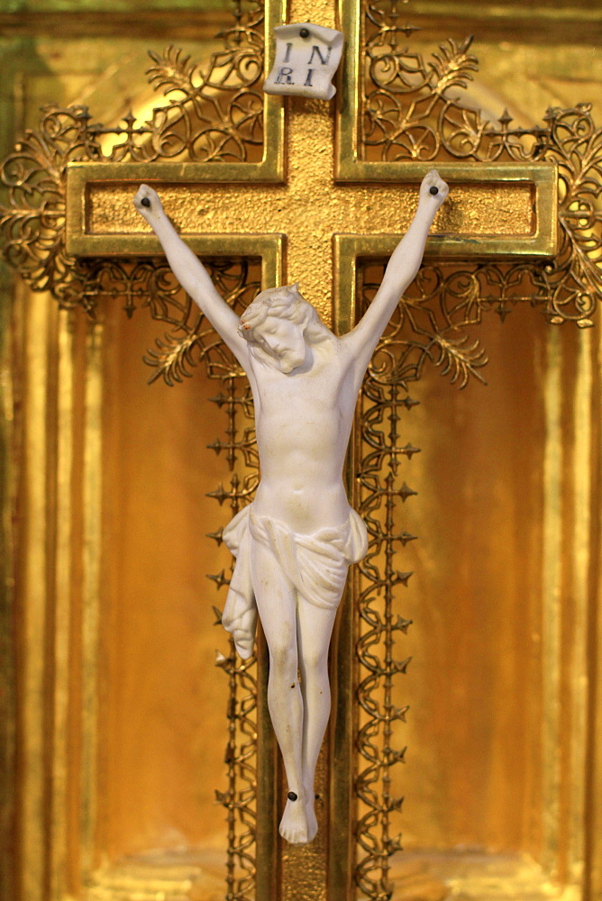 Jesus Christ on the cross, Les Contamines-Montjoie, Haute-Savoie, France, Europe