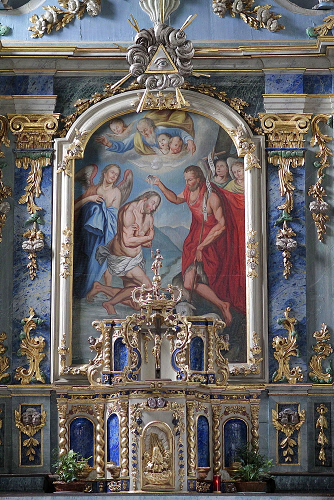 Altarpiece showing The Baptism of the Christ, St. John the Baptist church, Les Houches, Haute Savoie, France, Euorpe
