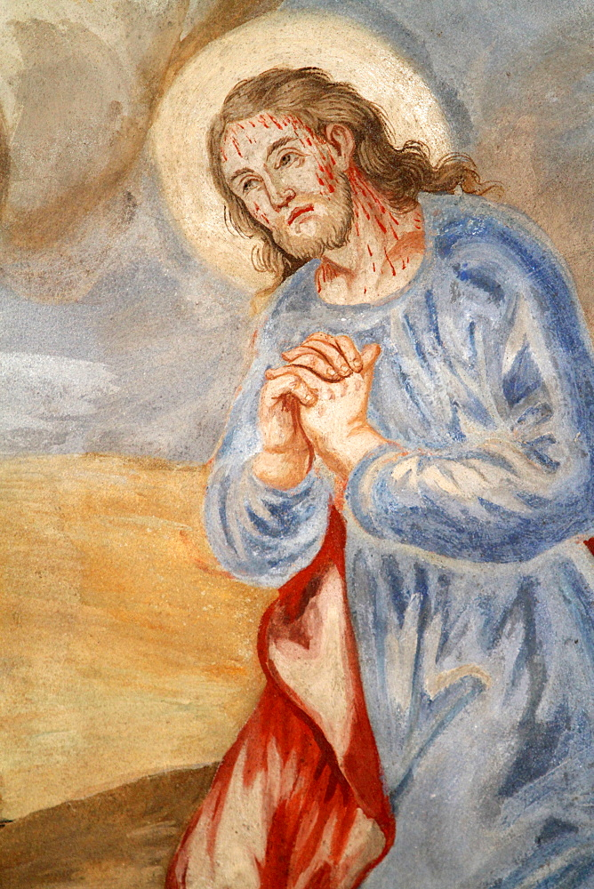 Christ praying in Gethsemane, Our Lady of the Assumption church, Cordon, Haute-Savoie, France, Europe