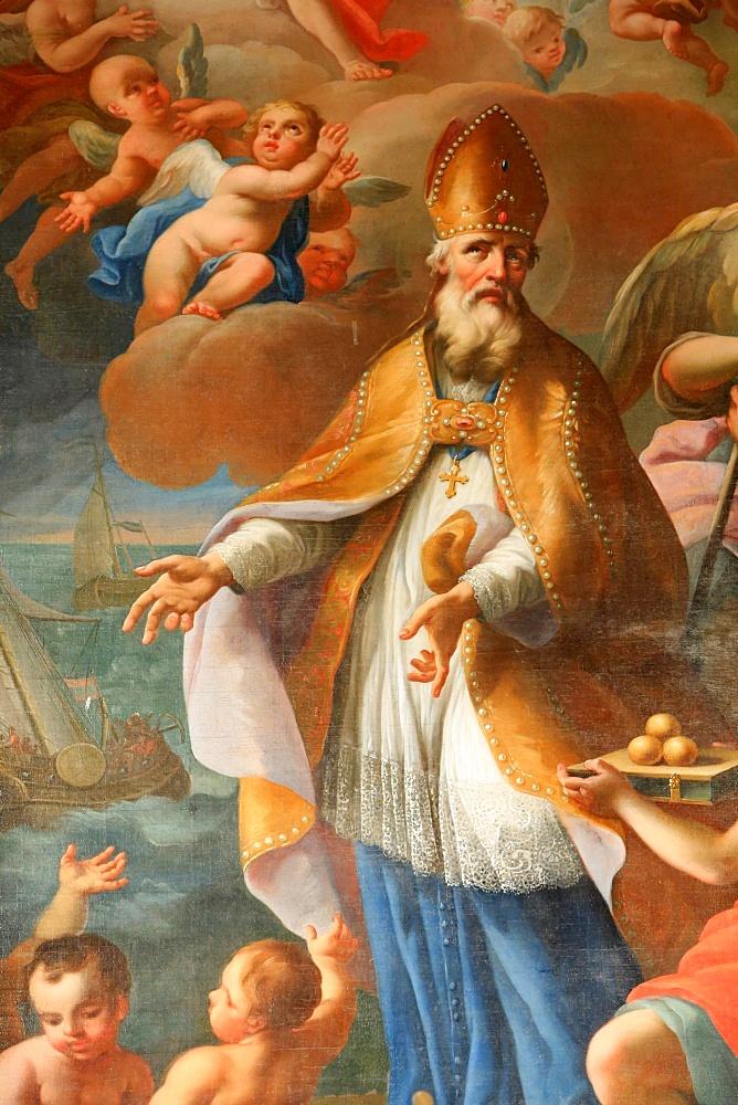 Life of St. Nicolas, Bishop of Myra, St. Nicolas de Veroce church, Haute Savoie, France, Europe
